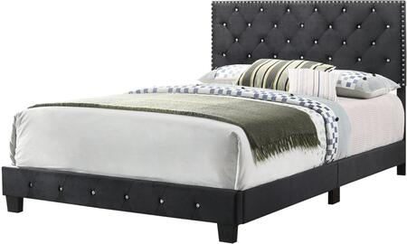 Suffolk Collection G1407-QB-UP Queen Size Bed with Crystal Tufted Headboard and Footboard  Velvet Upholstery  Nail Head Accents and Block Feet in