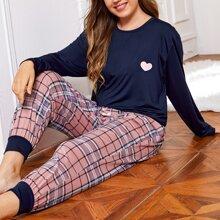 Pijamas de Talla Grande Cordon A cuadros Dulce