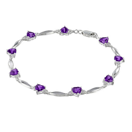 Genuine Amethyst & Diamond Accent Heart-Shaped Sterling Silver Bracelet, One Size , No Color Family