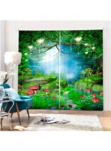 Wonderful Deep Forest Red Mushrooms Thick Polyester Custom 3D Curtain