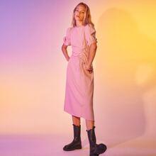 Kleid mit Kordelzug, Ruesche und Plaid Muster
