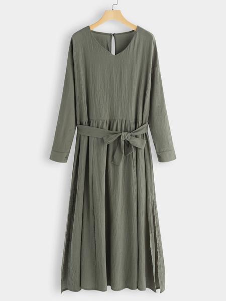 Yoins Army Green Pleated Design V-neck Slit Hem Dress With Belt