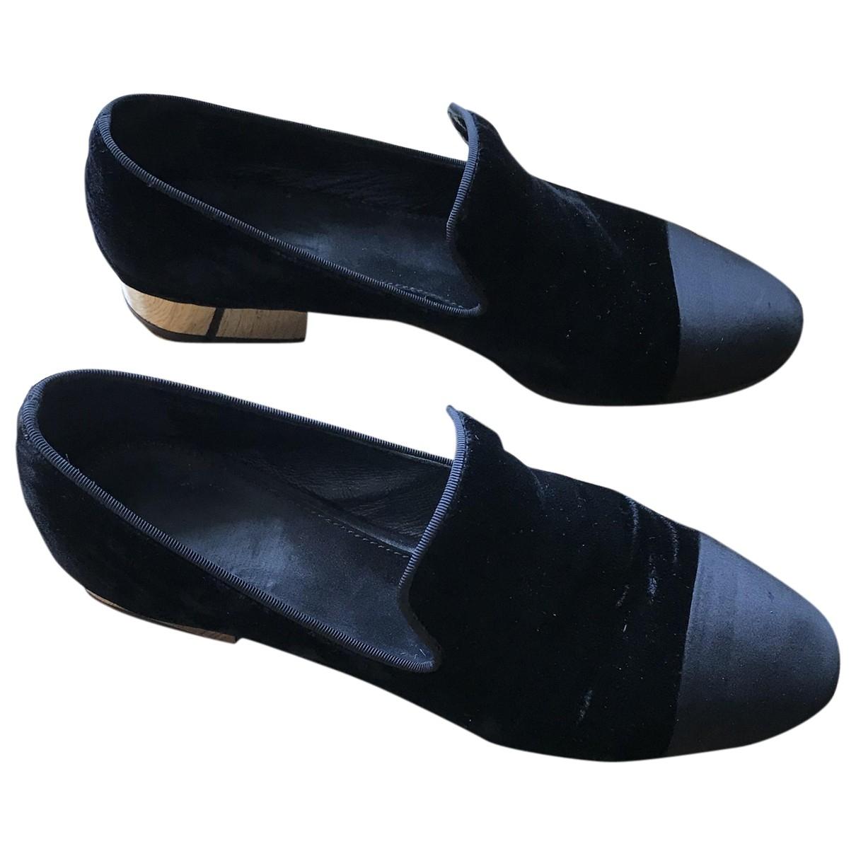 Giambattista Valli \N Black Velvet Flats for Women 38.5 EU
