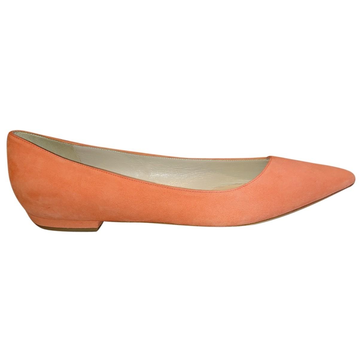 Giorgio Armani \N Orange Suede Ballet flats for Women 39 EU