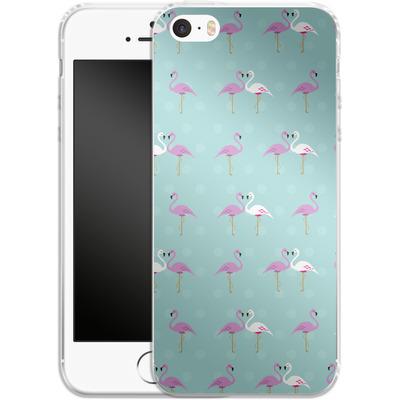 Apple iPhone 5s Silikon Handyhuelle - Two Flamingos von caseable Designs