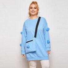 Plus Pompom Detail Drop Shoulder Sweatshirt With Bag