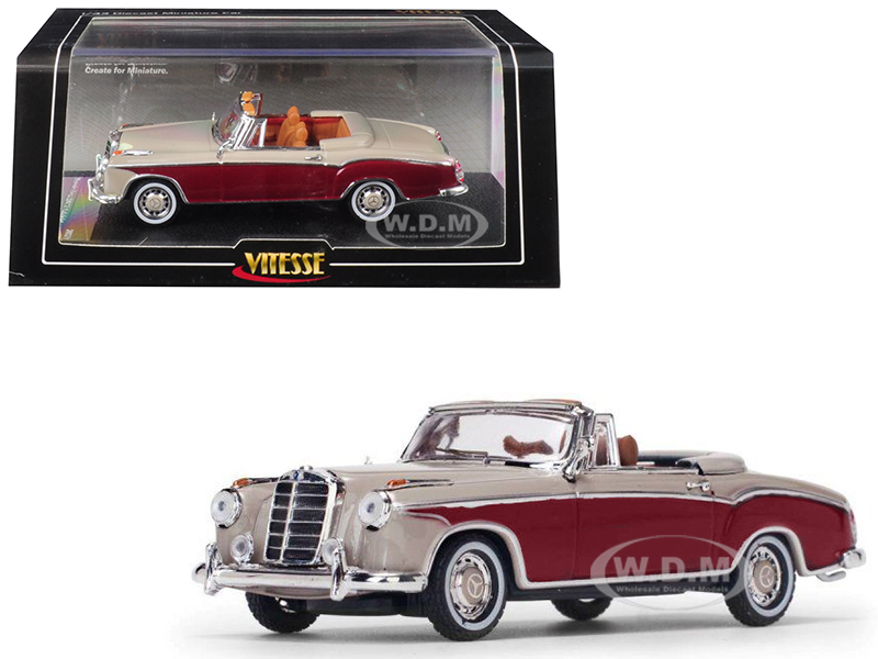 1958 Mercedes Benz 220 SE Cabriolet Light Ivory and Red 1/43 Diecast Model Car by Vitesse