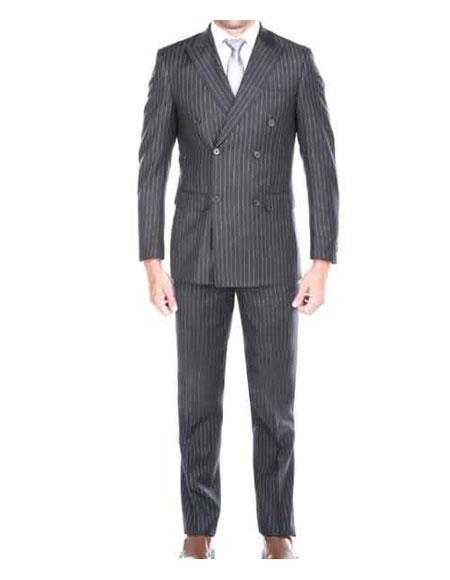 Men's Kingsman Striped Pattern Grey Peak Lapel Double Breasted Suit