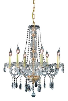 7956D24G/RC 7956 Verona Collection Hanging Fixture D24in H28in Lt: 6 Gold Finish (Royal Cut