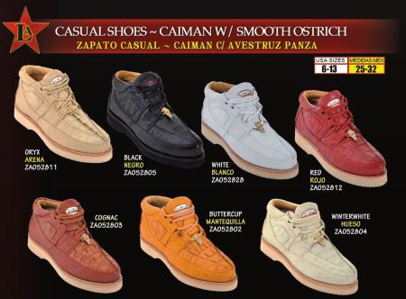 Los Altos Mens Genuine Caiman w/ Smooth Ostrich Lace Up Casual Shoes