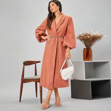 Mantel mit Schal Kragen, Laternenaermeln und Kette