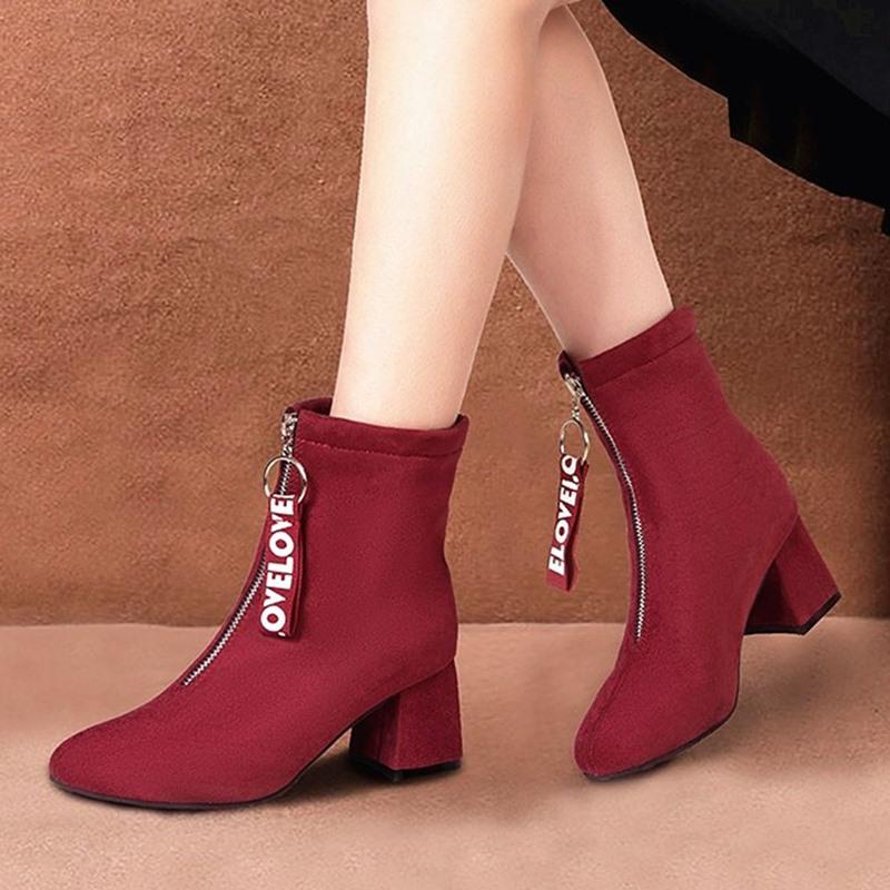 Ericdress Block Heel Front Zipper Plain PU Boots