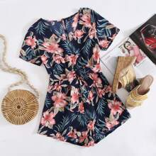 Self Belted Tropical Print Romper