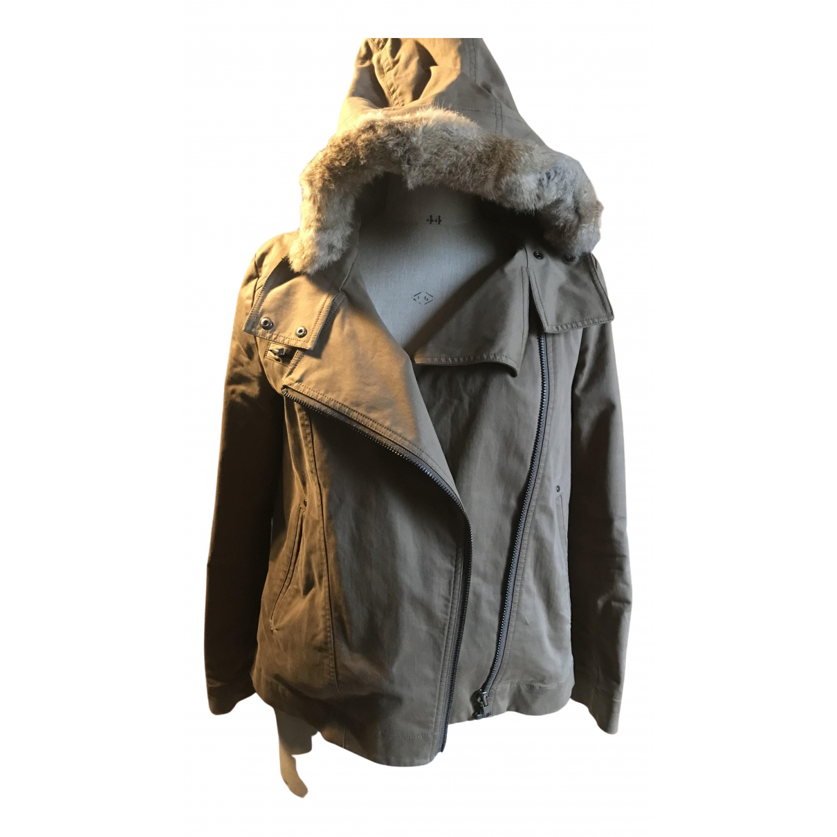 Comptoir Des Cotonniers N Khaki Rabbit Leather jacket for Women 38 FR