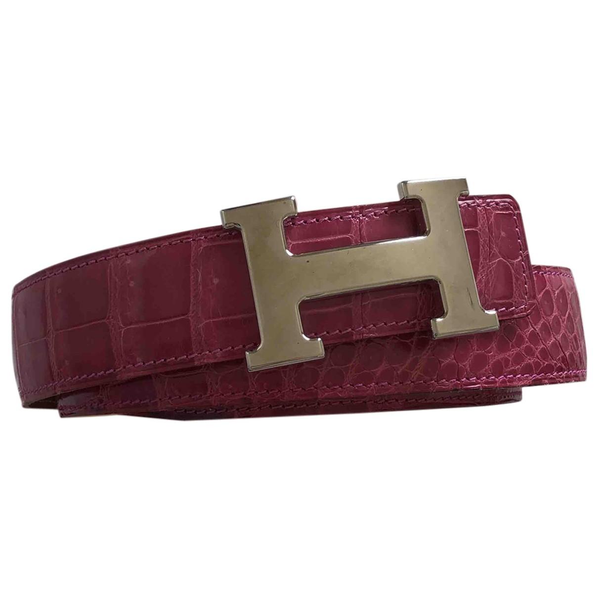 Hermes - Ceinture H pour femme en crocodile - rose