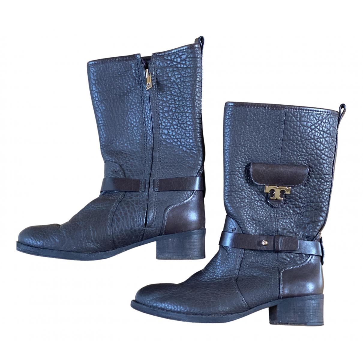 Tory Burch - Bottes   pour femme en cuir - marron