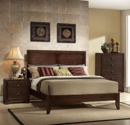 Madison Collection 19570Q3SET 3 PC Bedroom Set with Queen Size Bed  Chest and Nightstand in Espresso