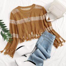 Strick Crop Pullover mit Fransen und Streifen