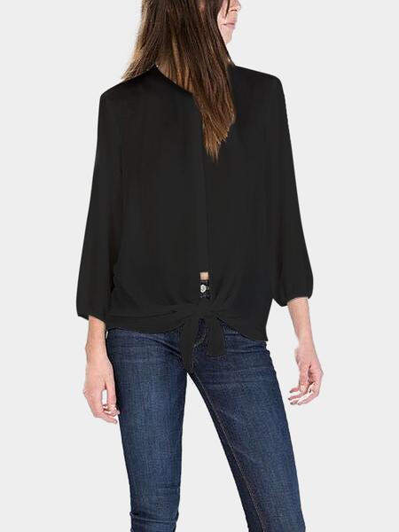 Yoins Black Knotted Chiffon Shirt
