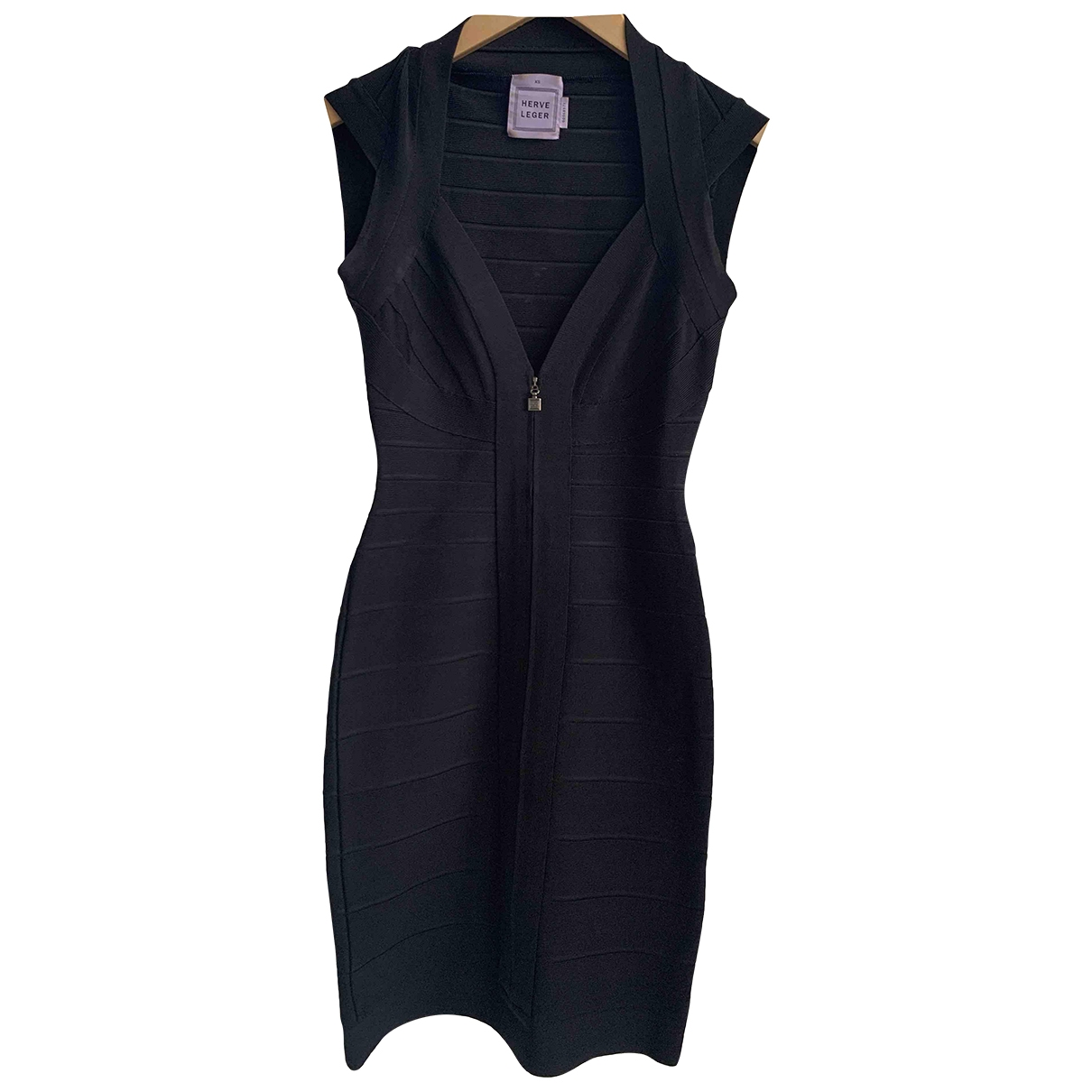 Herve Leger \N Kleid in  Schwarz Baumwolle