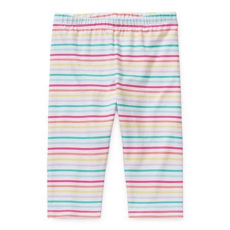 Okie Dokie Capri Toddler Girls Legging, 3t , White
