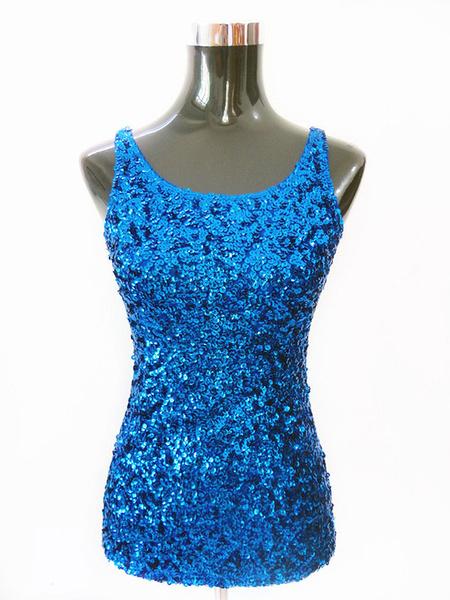 Milanoo Dance Costumes Latin Dancer Top Women Royal Blue Sequin Dancing Wears Halloween
