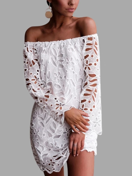 YOINS White Lace Off The Shoulder Long Sleeves Dress