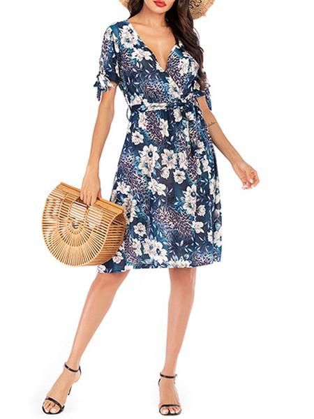 Milanoo Vestido de verano de gasa Vestido de playa con estampado floral y cuello en V