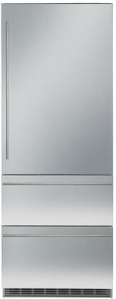 30 Bottom Freezer Refrigerator with 84 Height Door Panels and Tubular Handle in Stainless