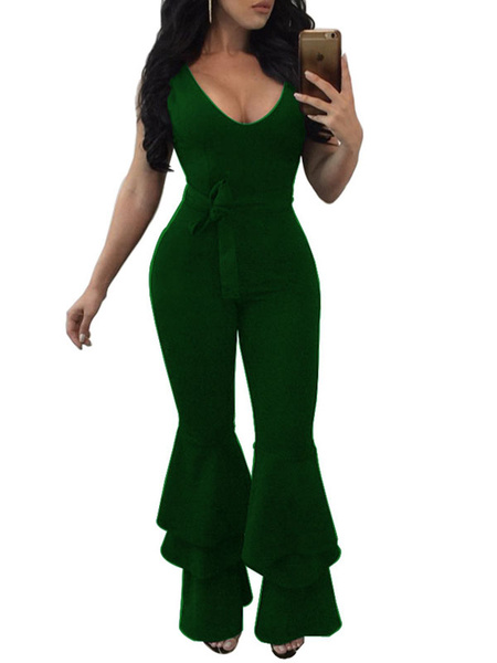 Milanoo Flared Leg Jumpsuit Layered Ruffle One Piece Outfit