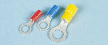 JST , FV Insulated Crimp Ring Terminal, 4mm Stud Size, 1mm² to 2.6mm² Wire Size, Blue (100)
