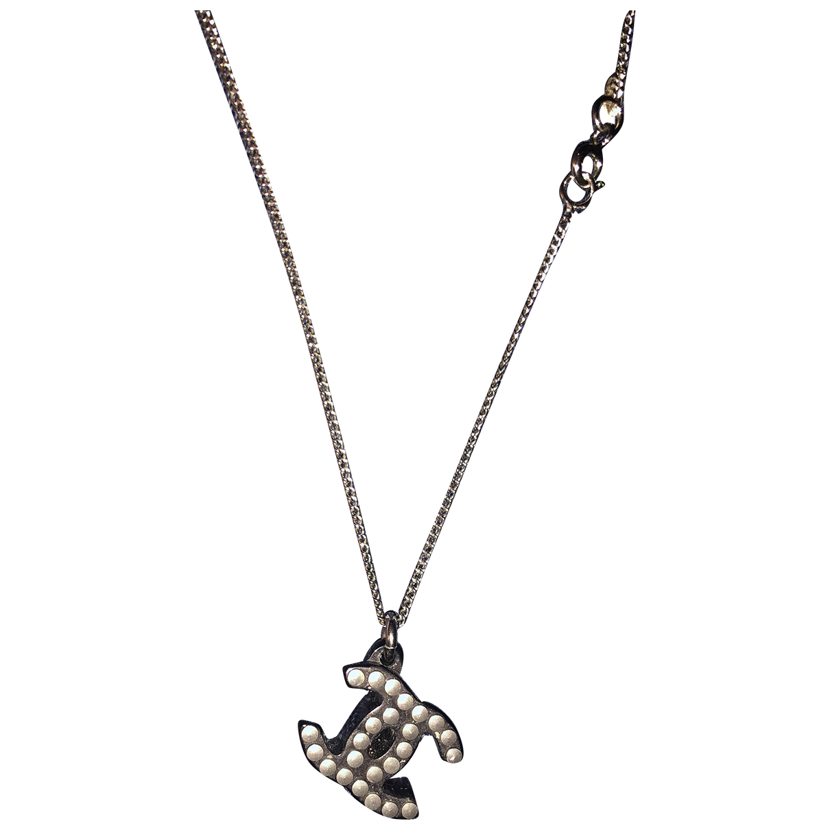 Chanel CC Black Silver necklace for Women N