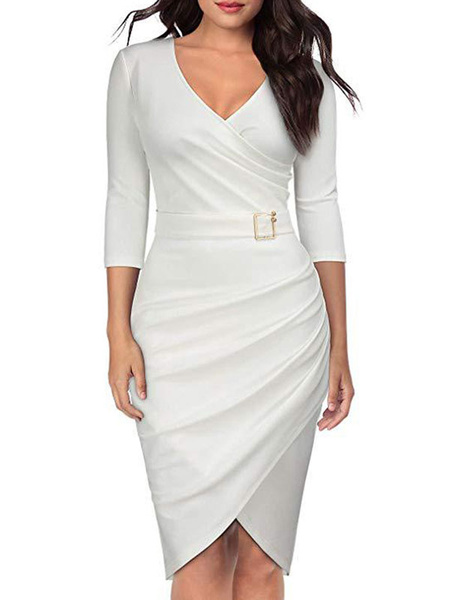 Milanoo Women Bodycon Dress V Neck Ruched Belt Wrap Shaping Midi Work Dress