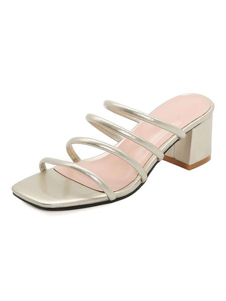 Milanoo Green Block Heel Sandals Womens Open Toe Strappy Plus Size Block Sandal Slippers