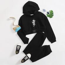 Girls Chinese Dragon Graphic Buckle Detail Hoodie & Joggers Set