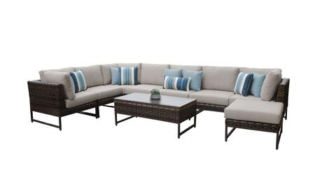 Barcelona BARCELONA-09d-BRN-BEIGE 9-Piece Patio Set 02a with 3 Corner Chairs  4 Armless Chairs  1 Coffee Table and 1 Ottoman - 2 Beige Covers with