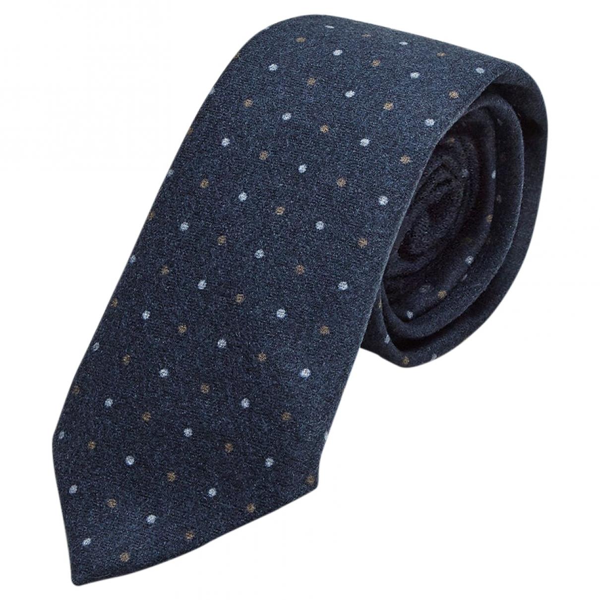 Brunello Cucinelli - Cravates   pour homme en laine - bleu
