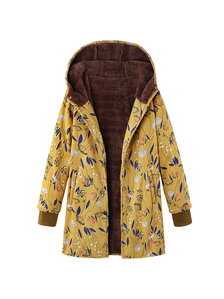 Milanoo Abrigo de invierno de manga larga con capucha estampado floral de las mujeres