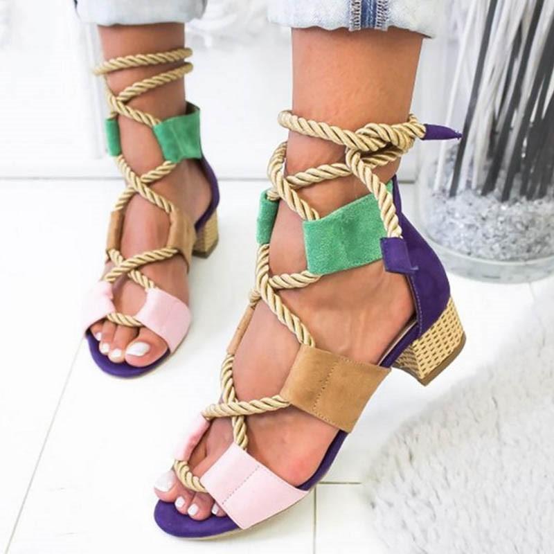 Ericdress Color Block Open Toe Lace-Up Chunky Heel Women's Sandals