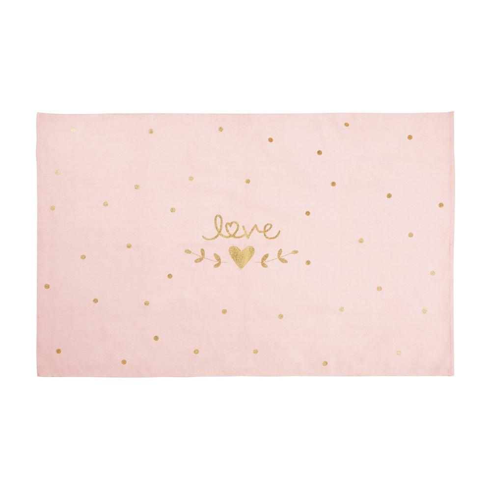 Baumwollteppich mit rosa-goldfarbenem Druckmotiv 120x180
