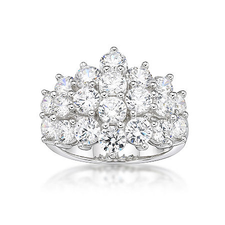 DiamonArt Womens White Cubic Zirconia Sterling Silver Cluster Cocktail Ring, 8 , No Color Family