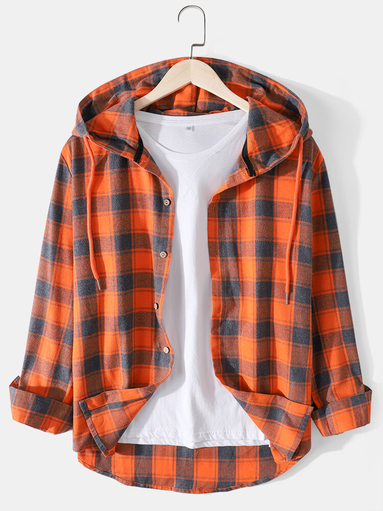 Mens Check Button Up Cotton Casual Long Sleeve Drawstring Hooded Shirts