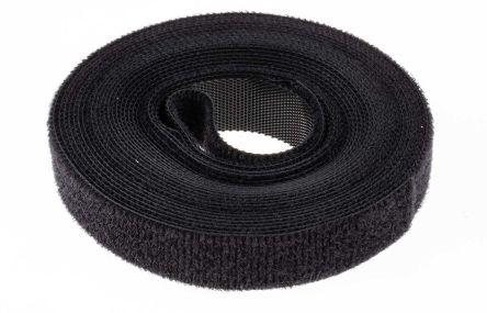 RS PRO Black Hook & Loop Cable Tie, 5m x 16 mm