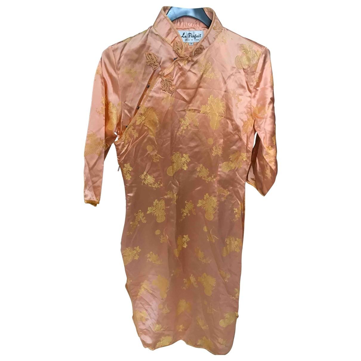 Non Signe / Unsigned \N Kleid in  Orange Seide