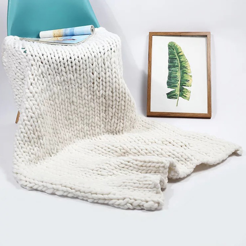 Wool Yarn Hand Made Chunky Knit Pure Color Blanket Skin-friendly Ultra-soft Microfiber No-fading