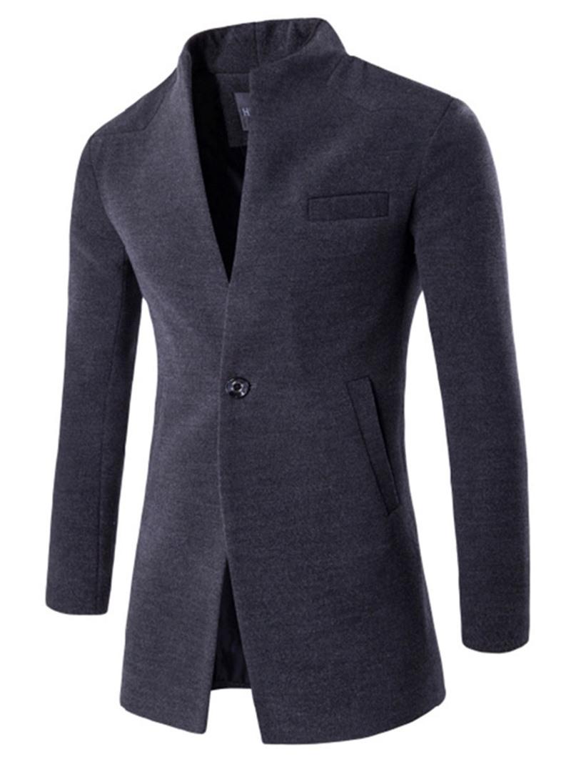 Ericdress Midi Pattern Stand Collar One Button Wool Classic Plain Slim Men's Coat