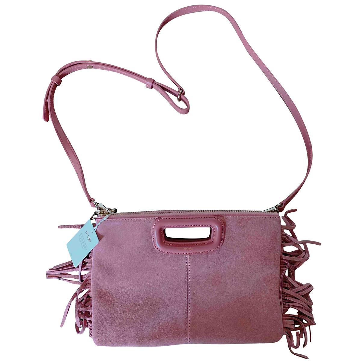 Maje Sac M Pink Suede handbag for Women \N