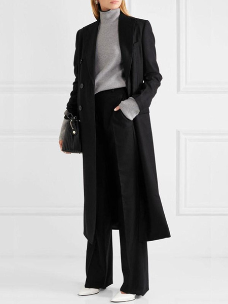 Milanoo Women Black Overcoat Long Sleeve Button Up Wool  Black Peacoat