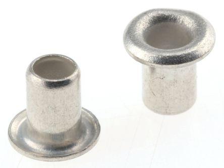Keystone 34, Wide Roll Eyelet PCB Rivet for 2.36mm Diameter, 3.18mm Length (100)