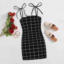 Slip Kleid mit Knoten, Riemen und Karo Muster